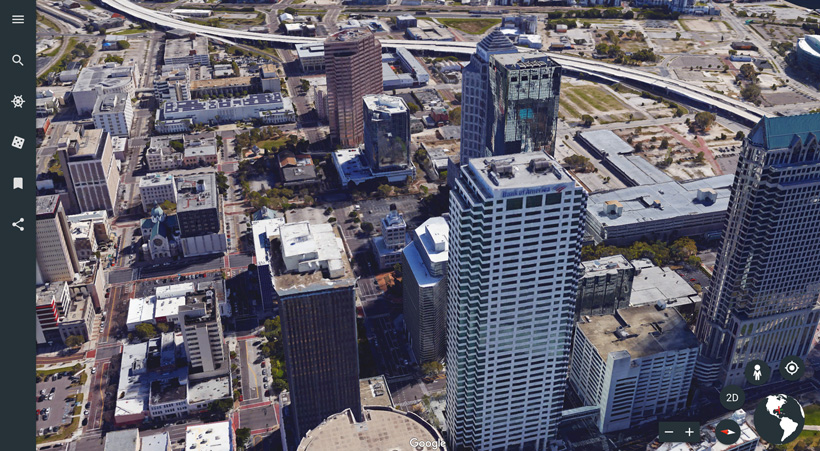 Google Earth 3D imagery in big city