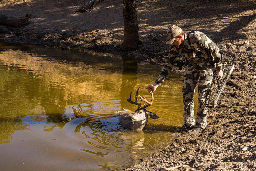 Grabbing buck out of the pond