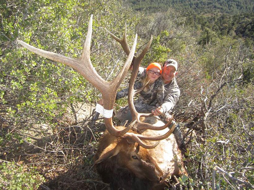 Greg Krogh and his daughters bull elk