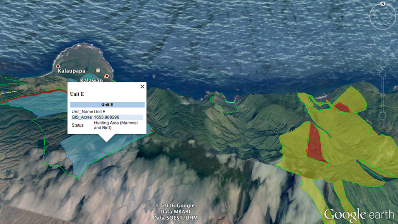 Hawaii Google Earth hunting layers