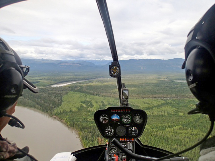 Helicopter ride to camp