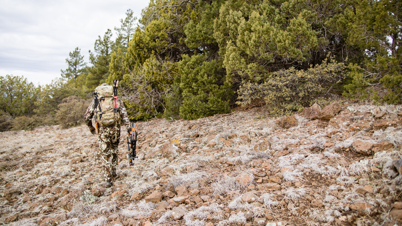 Hiking in the mountains on a hunt