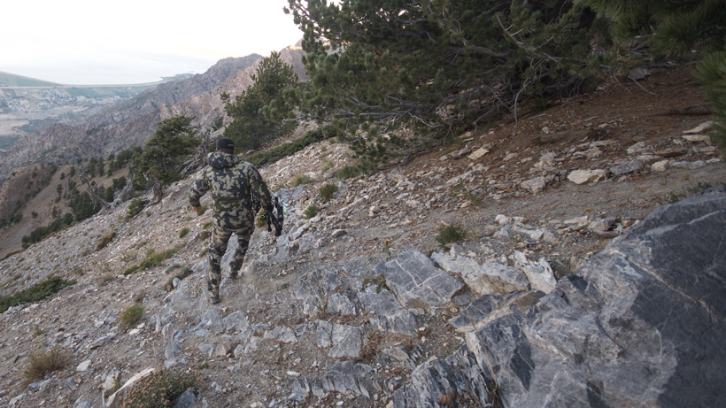 Hiking over to the mountain goat with a bow in Utah