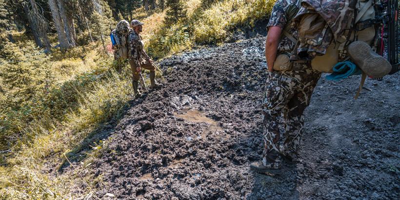 Hiking through elk wallow in Wyoming