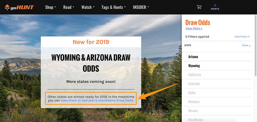 How to view other states 2018 draw odds