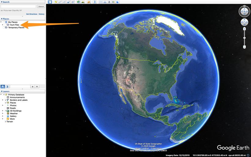 Hunt folder of waypoints on Google Earth