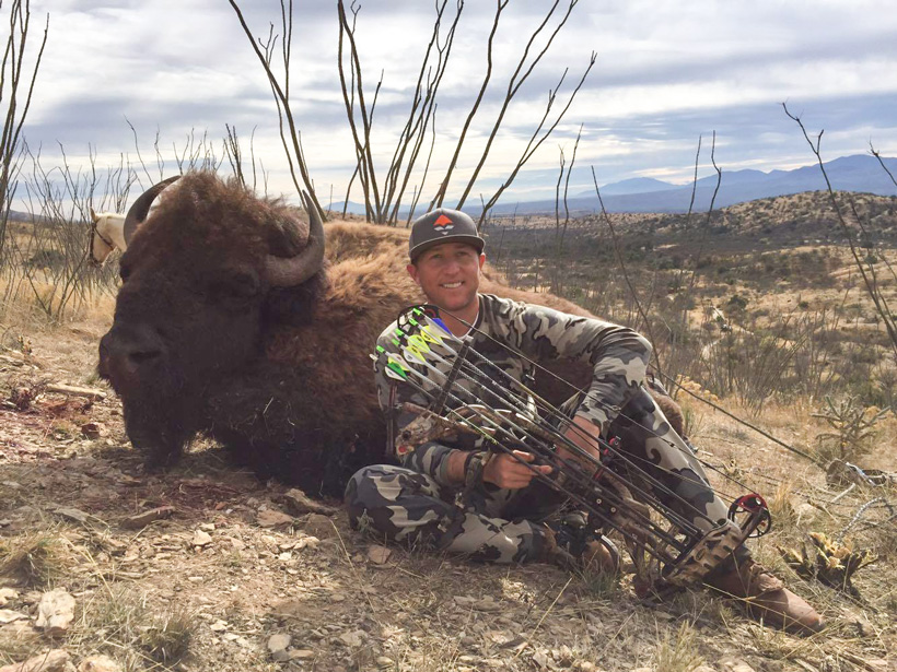 Hunter Haynes with his Mexico free range bison side view