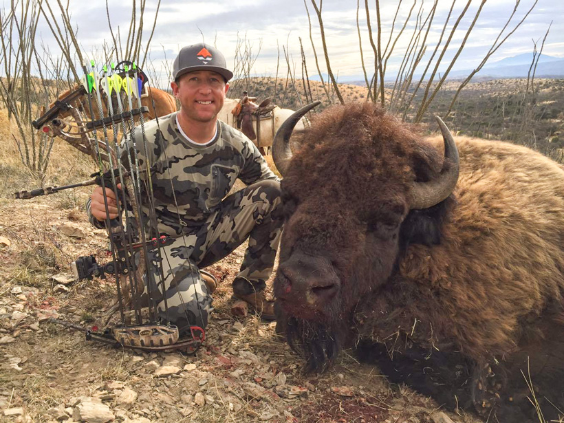 Hunter Haynes with his free range archery bison taken in Mexico