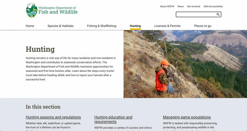 Hunting area of Washington website