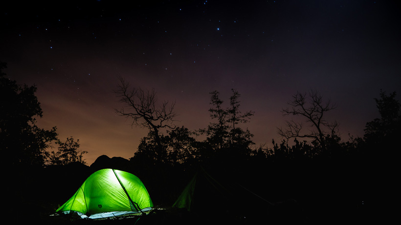 Hunting campsite under the stars
