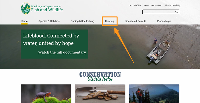 Hunting section of Washington Department of Fish and wildlife homepage