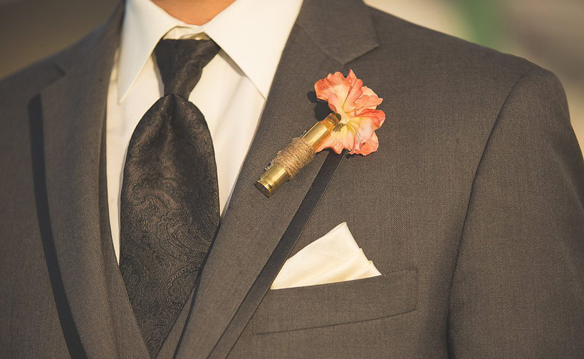 Hunting themed wedding lapel