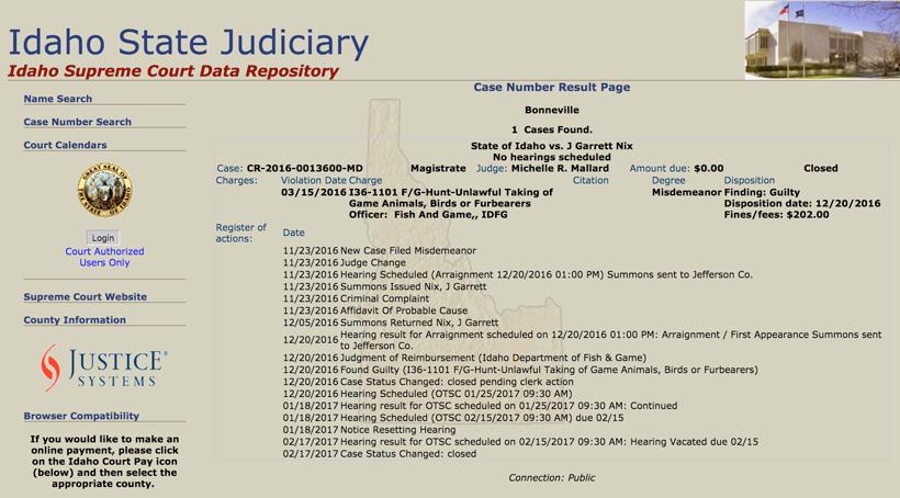 Idaho State Judiciary document on Garrett Nix