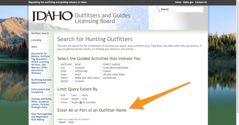 Idaho hunting outfitter search