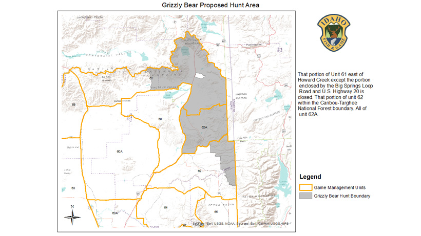 Idaho proposed grizzly bear hunt area