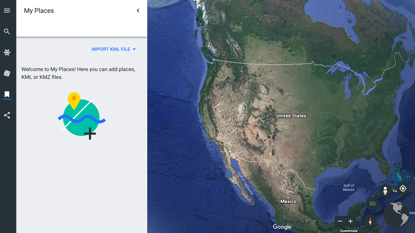 Importing KML file to Google Earth web
