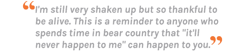 Jake Purlee quote about grizzly bear attack