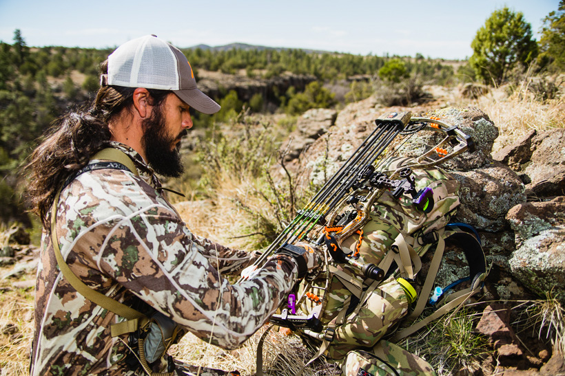Josh Kirchner getting his pack ready on a hunt
