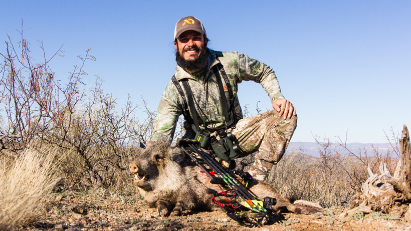 Josh Kirchner with an Arizona archery javelina