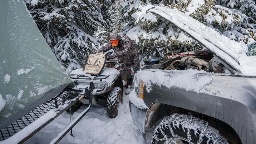 Jump starting atv in the cold