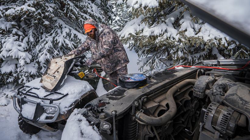 Jump starting atv while hunting late season