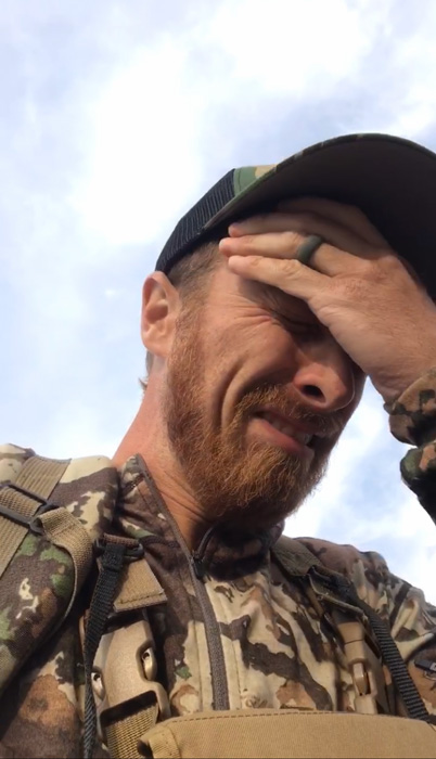 Justin Klement dealing with lyme disease on a hunt