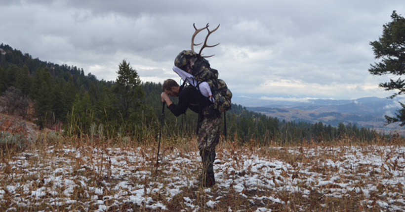 Justin Klement packing out his Idaho elk