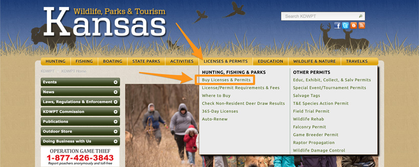 Kansas buy hunting license and permits section
