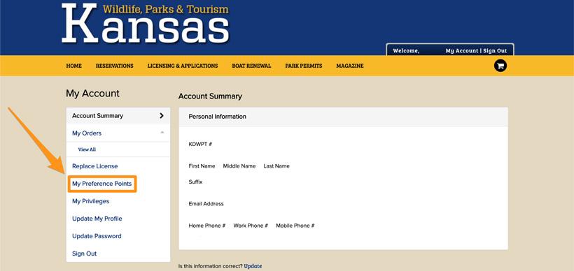 Kansas hunting account page