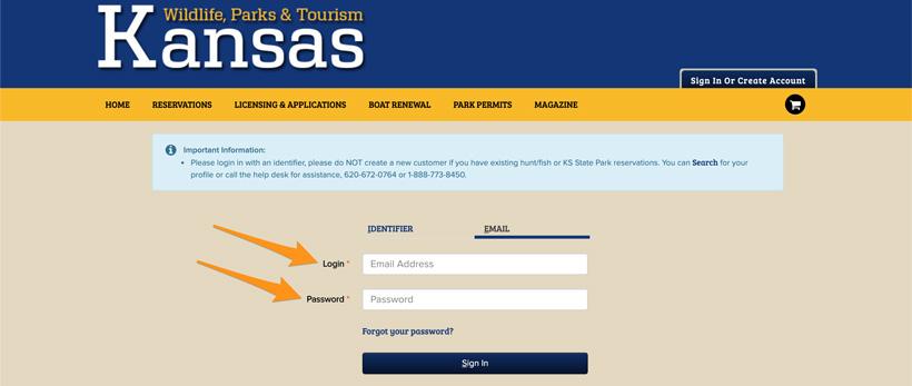 Kansas hunting main login page using email