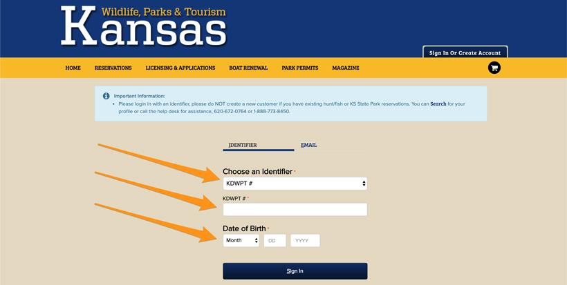 Kansas hunting main login page