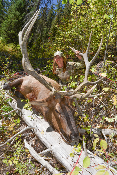Kim Mills with her 2016 Idaho archery bull elk front view