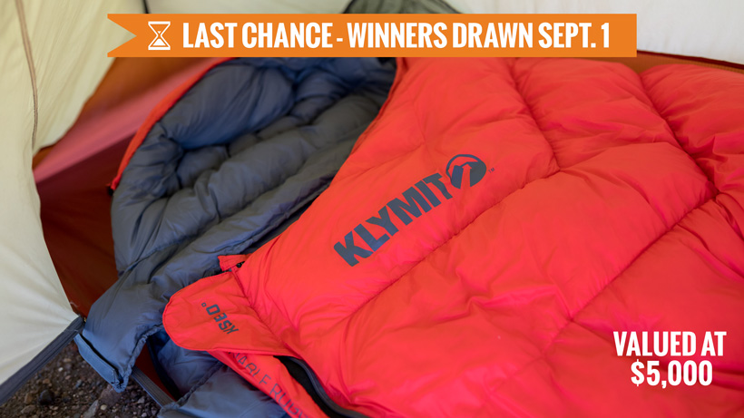 Klymit KSB zero degree sleeping bag giveaway last chance