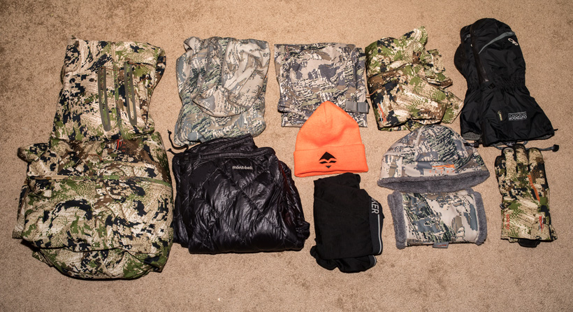 Late season hunting clothing packed