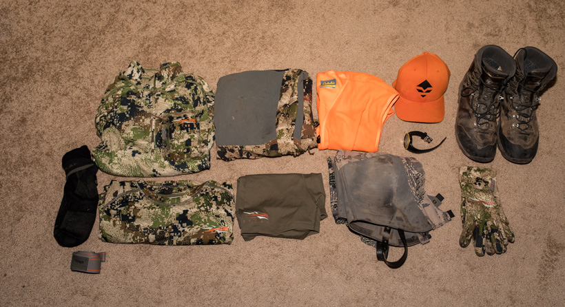 Late season hunting clothing worn