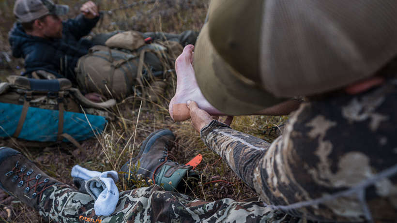 Leukotape for blisters while hunting
