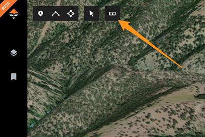 Line measurement tool on goHUNT Maps