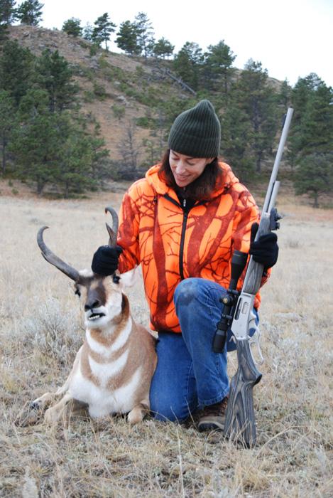 Lisa Ballard with her antelope buck front view