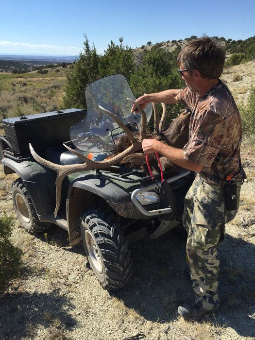 Loading elk rack on ATV