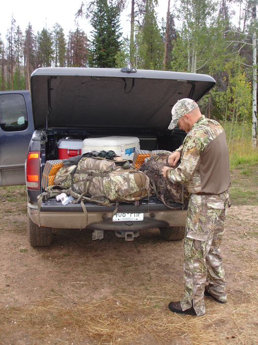 Loading gear at the trailhead