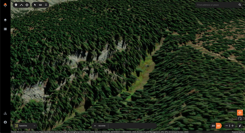Locating green vegetation for water on 3D maps