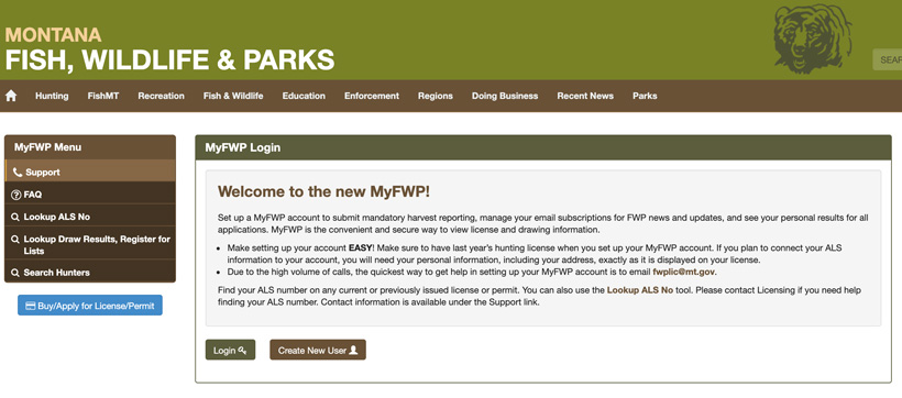 Logging in to Montana MyFWP page
