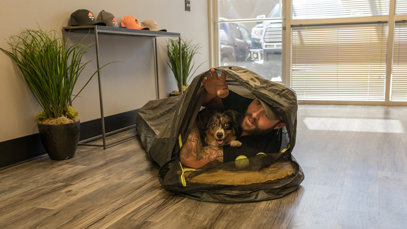 Lorenzo Sartini and buck in a bivy sack