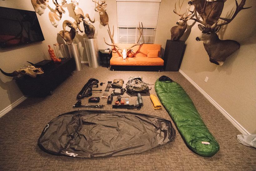 Lorenzo Sartini hunting gear in man cave