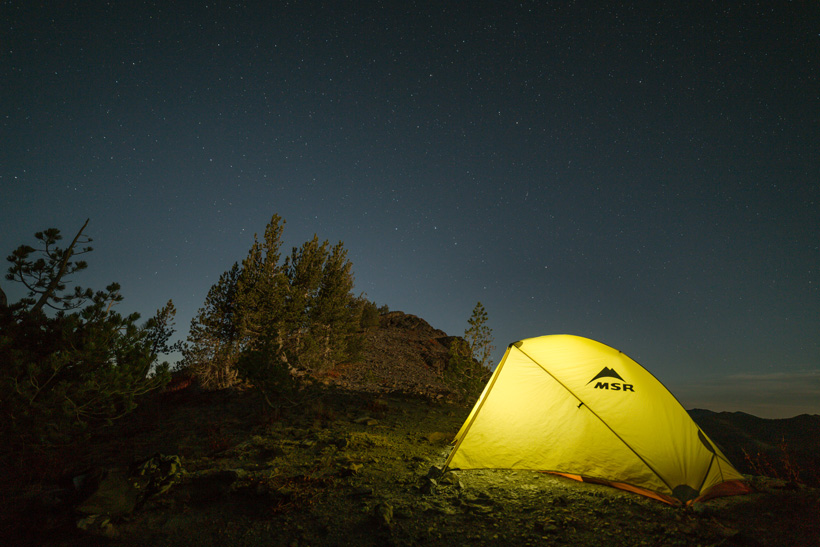 Night tent photo while hunting in the backcountry