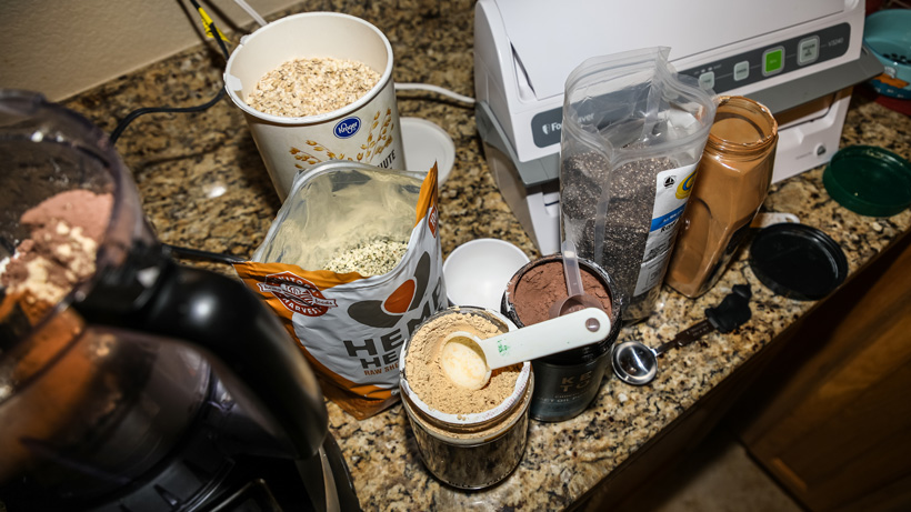 Making a breakfast protein shake