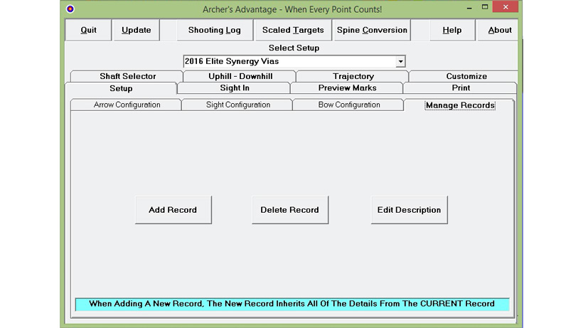 Manage bow records using Archers Advantage