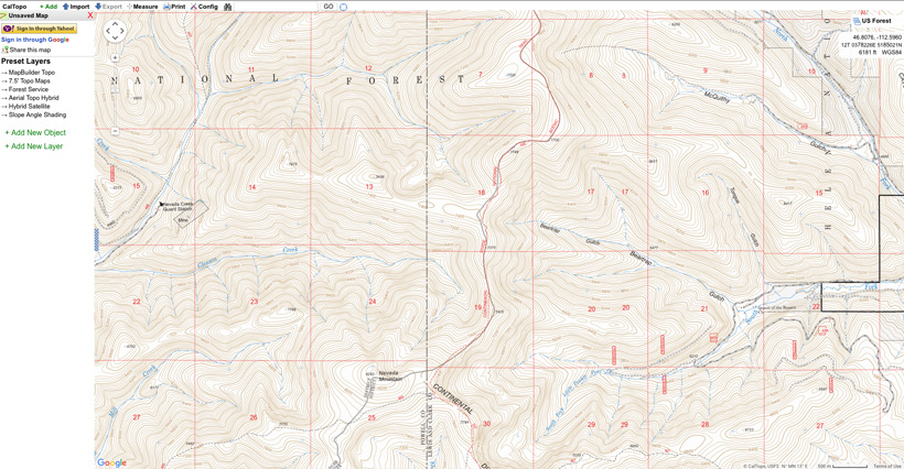 Mapping out an elk hunting area to scout