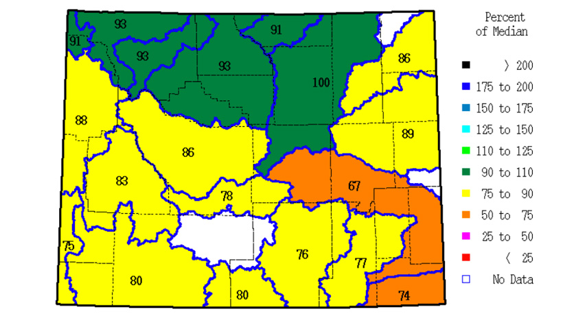 March 2013 snow water equivalent for Wyoming