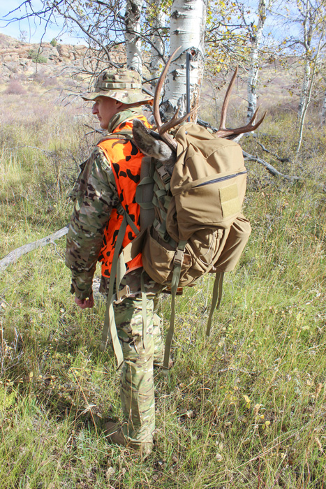 Mark packing out his Wyoming mule deer buck walking away